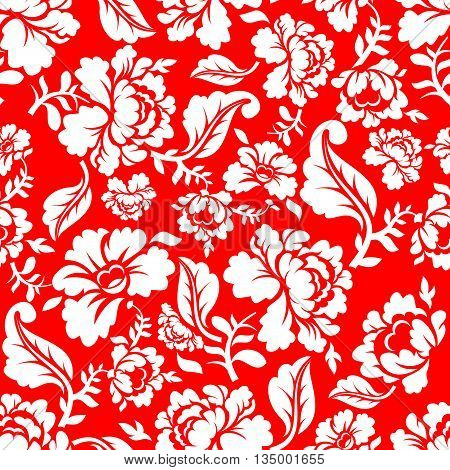White Rose On Red Background Traditional Russian Ornament Khokhloma. Floral Seamless Pattern. Vintag