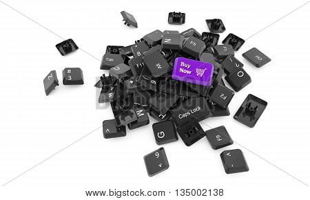 Stack of keyboard buttons isolated on white background with Buy word on one of them