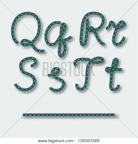Letters Q R S T - handwritten alphabet of rope. Vector illustration.