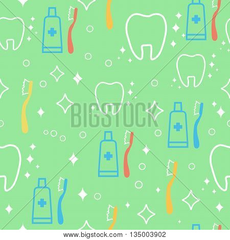 Vector seamless pattern with teeth an toothbrushes. dental health background