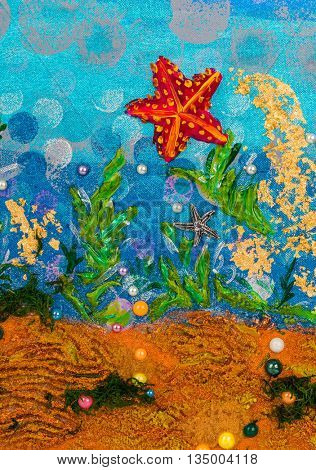 Underwater seascape - abstract drawing background