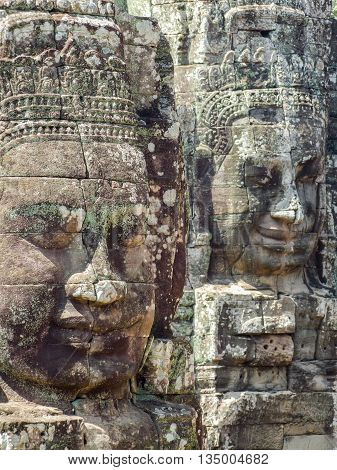 sculpture detail at the Bayon temple at Angkor in Cambodia