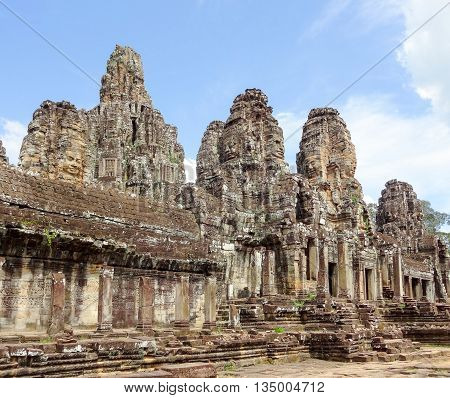 scenery at the Bayon temple at Angkor in Cambodia