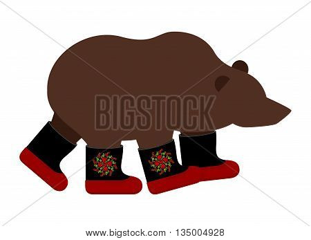 Russian Bear In Boots. Russian National Animal Winter Warm Shoes.