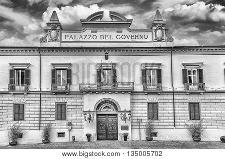 The Neoclassic Facade Of Palazzo Del Governo, Cosenza, Italy