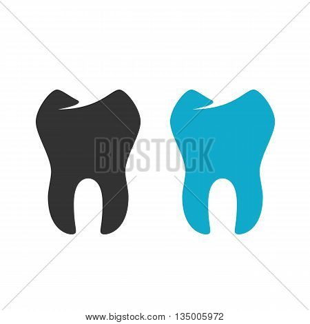 Tooth icon on white background. Tooth vector logo. Flat design style. Modern vector pictogram for web graphics. - stock vector
