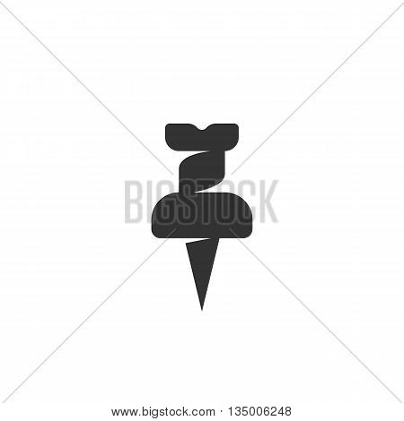Push pin icon on white background. Push pin vector logo. Flat design style. Modern vector pictogram for web graphics. - stock vector