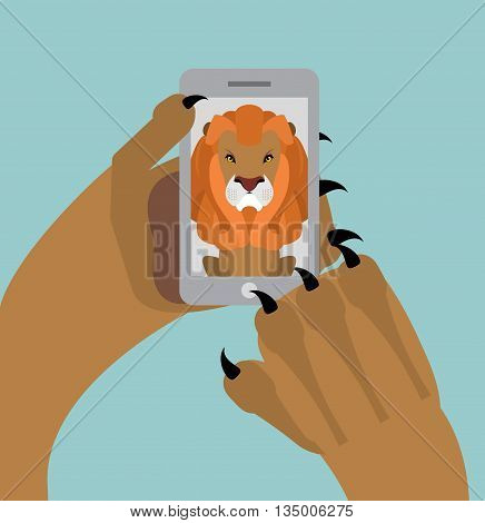 Leo Selfie. Lion Photographed Themselves On Phone. Angry Wild Animal And Smartphone