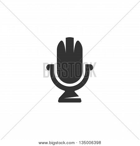 Microphone icon on white background. Microphone vector logo. Flat design style. Modern vector pictogram for web graphics. - stock vector