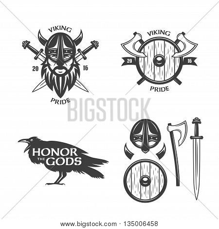 Viking related t-shirt graphics and design elements. Vector vintage illustration.