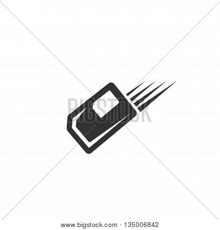 SIM card logo on white background. SIM card icon. Flat design style. Vector illustration - stock vector