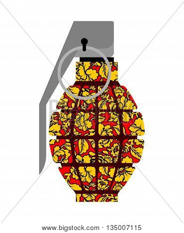Grenade Russian Khokhloma Style. National Folk Painting Of Flowers. Traditional Combat Projectile Ru