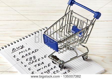 Shopping List And Shopping Cart