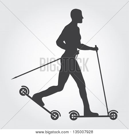 Roller skiing silhouette of man. Guy roller skiing on the grey background. Man roller skiing. Art design for sport.
