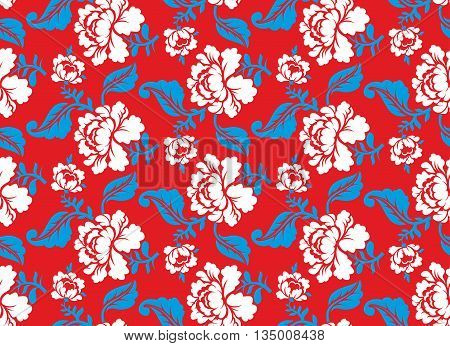 Russian National Flower Pattern. Colors Of Russia Flag. Tricolor: Red, Blue And White. Patriotic Flo