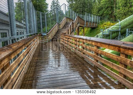 A view of stairs at a power station after a rain. HDR image.