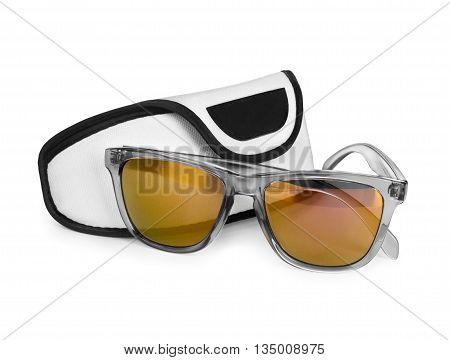 stylish sunglasses and case on a white background