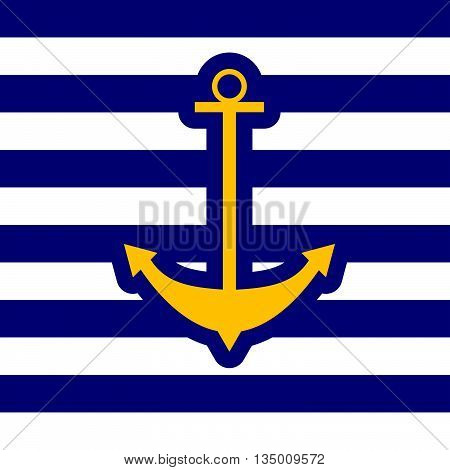 anchor icon blue color illustration and white