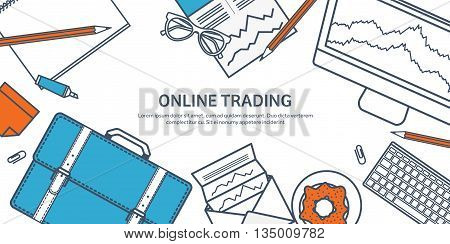 Vector illustration. Flat background. Market trade. Trading platform , account. Moneymaking, business. Analysis. Investing.Line art.Lined.