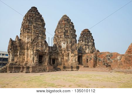 On the ruins of the ancient Khmer temple Wat Phra Prang Sam Yot. Lopburi, Thailand