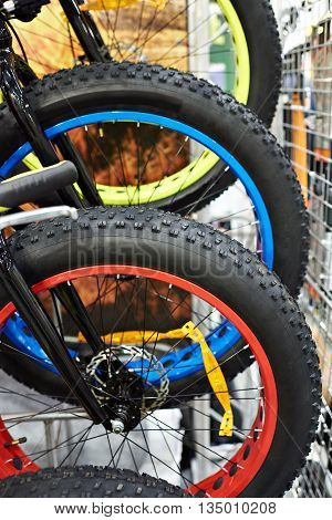 Big Tire On Wheels Of Bicycle In Shop