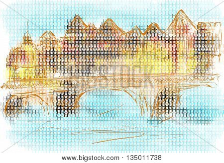 toulouse. abstract city on a multicolor background