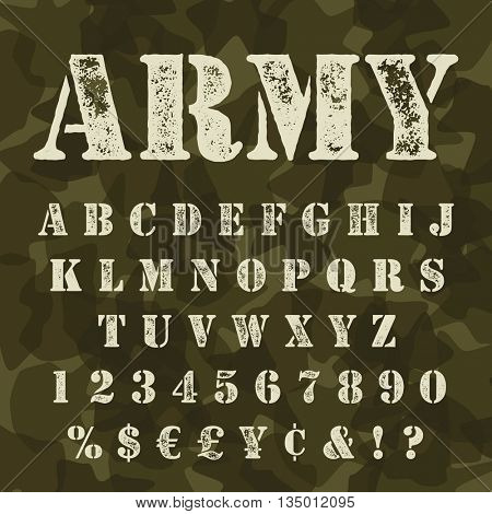 Military stencial alphabet. Army stencial lettering with camouflage background.