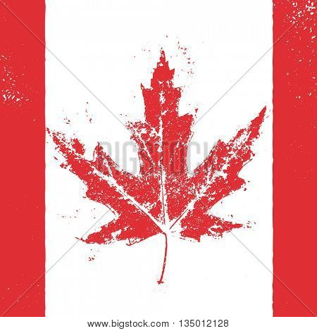Canadian flag vector illustration. Vector greeting card for Canada Day. Illustration for 1st of July Canada Independence Day with flag and red maple leaf.