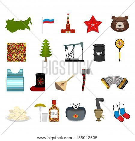 Russia Set Icons. Traditional Objects Of Country. Russian National Clothes. Association With  Countr