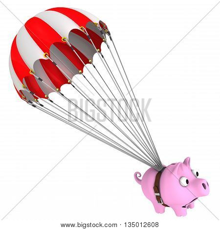 Pink piggy bank flies on a parachute. Isolated. 3D Illustration