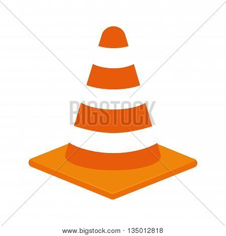 Under Construction concept represented by striped cone icon over flat and isolated background