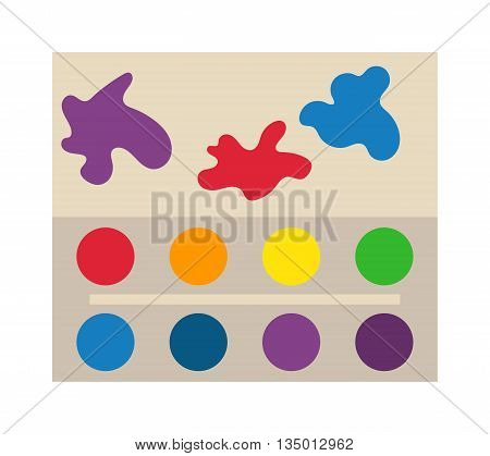 Art palette tool and watercolor palette with pains. Creative watercolor palette drawing painter tool design. Line creative work painter palette. Modern art palette with colors vector illustration.