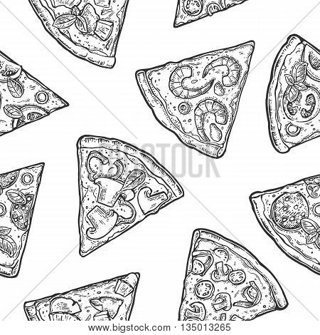 Seamless Pattern slice pizza. Vintage vector engraving illustration for poster, menu, box. Isolated on white background.