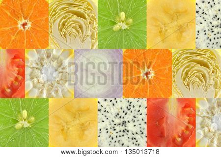 Square shaped fruit and vegetable as a background