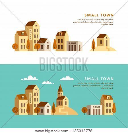 Small town. Urban landscape. Vector flat illustration.