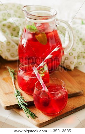 Ice Refreshing Summer Drink With Red Berries