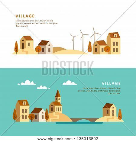 Village. Rural landscape. Vector flat stayle illustration.