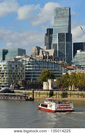 LONDON - OCTOBER 03: New giant office tower on October 03 2014 in London UK. City of London is one of the leading centres of global finance.