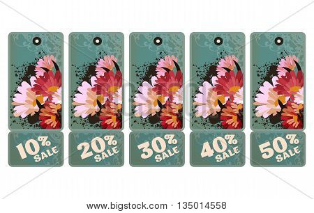 vector set of vintage tags for discounts with different percentages in vintage style with beautiful flowers