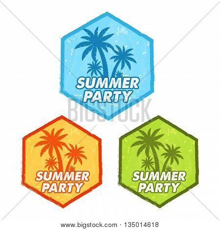 enjoy summer party banners - text in blue, orange, green grunge drawn flat design hexagons labels with palms symbol, holiday seasonal concept, vector