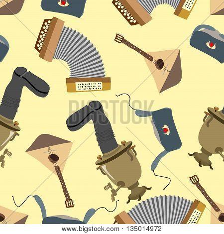 Ornament Russia. Balalaika, Samovar, Ushanka, Accordion. Seamless Pattern Background
