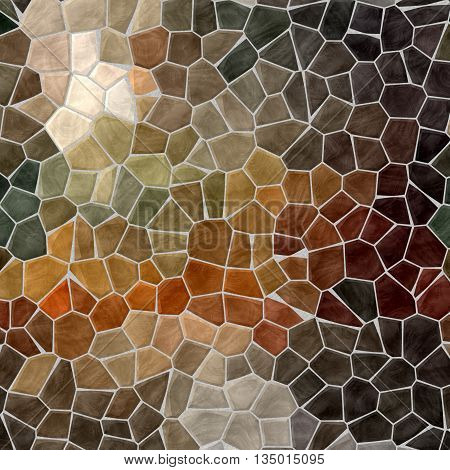 dark natural brown and beige mosaic pattern texture background with gray grout