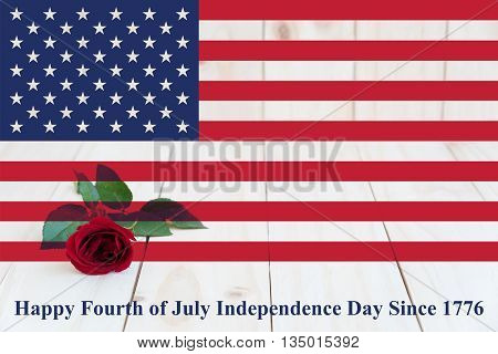 United State of America USA flag with red rose and words happy fourth of july independence day since 1776, love America concept