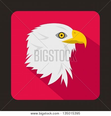 Eagle icon in flat style with long shadow. Bird symbol