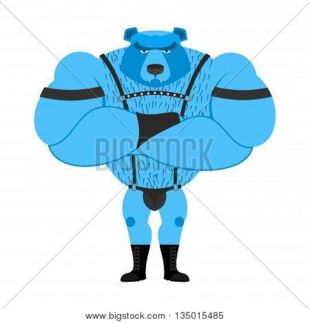 Gay Bear Symbol Of Sexual Community. Big Strong Blue Bear. Tons Powerful Wild Animal In  Leather Sui