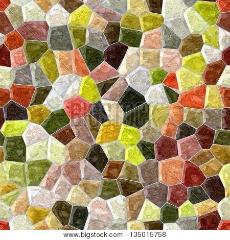 natural full color seamless mosaic pattern texture background with gray grout
