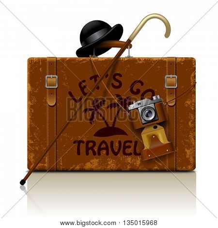 Vintage brown threadbare suitcase with walking stick, bowler hat and retro photo camera isolated on white. Letr's go  symbol and metaphor. Vector illustration