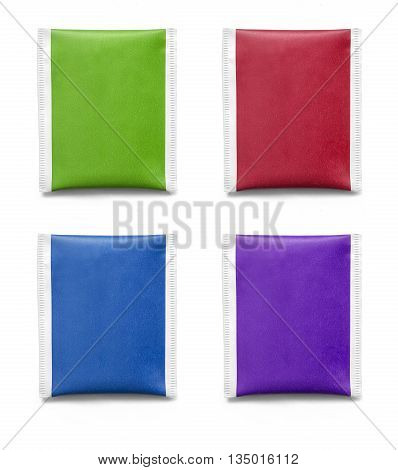 Blank paper sachet for medicine drugs coffee sugar salt spices isolated on white background . with clipping path