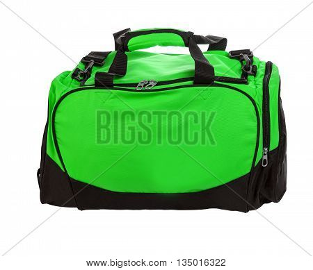 green travel bag on a white background isolated on white