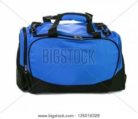 Blue travel bag on a white background isolated on white with clipping path